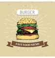 hamburger burger fast food in vector image