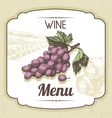 Hand drawn vintage wine menu background vector image vector image