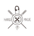 hand made sewing frame with button and needles vector image vector image