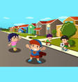 kids playing in the street of a suburban vector image vector image