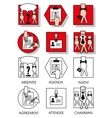 Line icons set of the agreements and meetings vector image