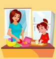 little girl helping mother in the kitchen vector image vector image