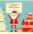 merry christmas card with santa claus and presents vector image vector image