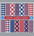patriotic set white blue red seamless patterns vector image vector image