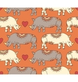 pattern with colorful rhinoceroses vector image vector image