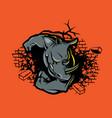 rhino crushes wall vector image vector image