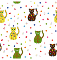 Seamless with different stylized cats vector image vector image