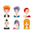 set girl avatars with punk style vector image vector image