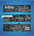 set of chalk horizontal christmas banners vector image vector image
