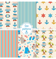 set sea patterns vector image vector image