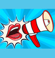 sexy open female mouth and megaphone screaming vector image vector image