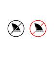 shark fin icon no swimming dangerous take care vector image vector image