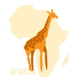 Simple of giraffe on background africa map vector image vector image