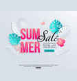 summer sale banner with paper cut tropical palm vector image vector image