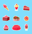 tasty desserts stickers cute colorful badges of vector image vector image
