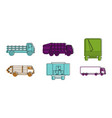 truck icon set color outline style vector image