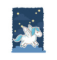 unicorn wings magic animal night background poster vector image vector image