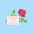valentines day closed envelope with rose on blue vector image vector image