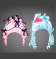 woman wigs rococo set girl blue and pink hairstyle vector image vector image