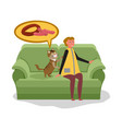 woman with cat sitting on sofa cat begs food from vector image vector image