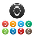 wristwatch round icons set color vector image vector image