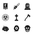 zombie element icon set simple style vector image vector image