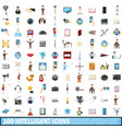 100 intelligent icons set cartoon style vector image vector image