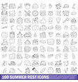 100 summer rest icons set outline style vector image vector image