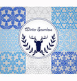 8 Seamless Patterns with Snowflakes vector image vector image