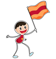 A boy holding a flag vector image