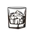 a glass whiskey with ice cubes vector image vector image
