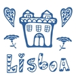 Beautiful card with Lisbon related icons vector image