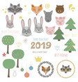 big set of cute animals fir trees2019 vector image vector image