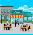 business lunch people colored composition vector image vector image