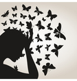 Butterflies from a head4 vector image vector image