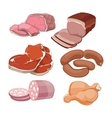 Cartoon butchery meat set vector image vector image