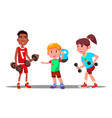 children are engaging in fitness in the gym vector image