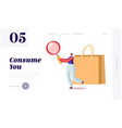 consumer basket consumption reducing landing page vector image vector image