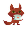 cute cartoon cat holding a cup coffee or tea vector image vector image