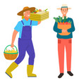 farming man carrying box with vegetables harvest vector image vector image