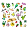 Fashion patch badges Tropical set Stickers pins vector image