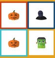 flat icon halloween set of tomb gourd pumpkin vector image vector image