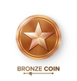 game bronze coin with star realistic vector image vector image