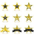 golden star with diamonds set isolated on white vector image vector image