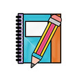grated notebook and pencil object school education vector image