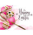hand painted pink easter eggs and paintbrush vector image vector image