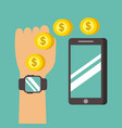 hand with smartwatch transfer money to mobile vector image