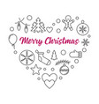 heart of xmas outline icons merry vector image