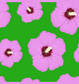hibiscus pink floral seamless pattern on green vector image vector image