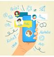 human gesture using modern smartphone say hallo vector image vector image